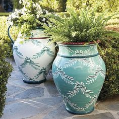 Chateau Painted Urn with Handles