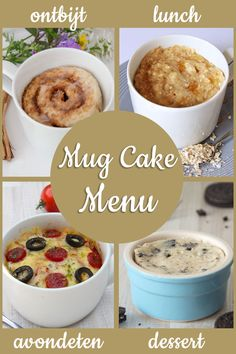 Mug cake menu: van ontbijt tot dessert - WordPress Website Mug Recipes, Oatmeal, Yummy Food, Sweets, Lunch, Snacks, Baking, Breakfast, Healthy