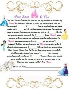 Disney Baby Shower Mad Libs   A Baby Shower Game For A Little Princess!    Instand Download