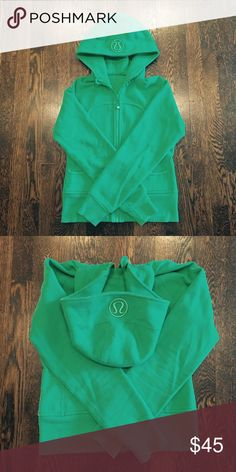 Lululemon scuba hoodie! Rare green color! This is a much loved gorgeous kelly green scuba. This style is a little shorter than current scubas and does not have thumb holes. I can't believe I'm selling it but I finally am! It's super cozy and has a great look. lululemon athletica Tops Sweatshirts & Hoodies
