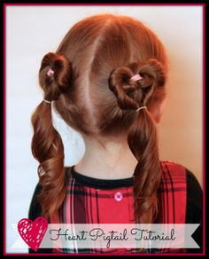 watch out for the woestmans: Heart Pigtails Hair Tutorial.  Step by step and video!
