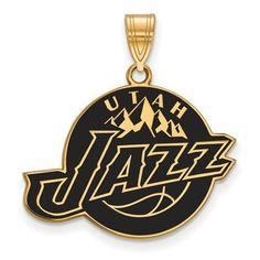 Sterling Silver w/ 14K Yellow Gold-Plated NBA Basketball LogoArt Official Licensed Utah Jazz Large Enamel Pendant