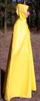 Side view of long yellow cape