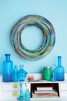 This thick rattan wreath comes with a coat of basic gray already applied. But you can turn it up a notch with a paintbrush and a selection of vibrant craft acrylics.