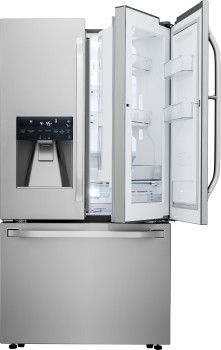 LG LSFXC2476S 36 Inch Counter Depth French Door Refrigerator with 23.5 cu. ft. Capacity, 4 Adjustable Glass Shelves, Door-in-Door, Gallon Storage, Glide N' Serve Drawer, Smart Cooling Plus, 3-Tier Freezer Drawer, Ice and Water Dispenser, ENERGY STAR and 2 Year Warranty