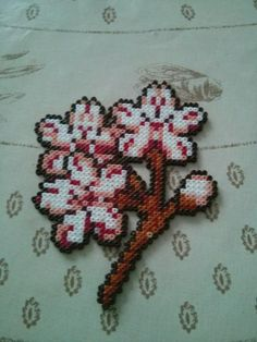 Cherry blossom, flor cerezo, hama mini perler beads, bead sprites by lullaby