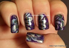 Glittery Fingers & Sparkling Toes: Atlanta Nail Meet Up Holo Water Marble Love Nails, How To Do Nails, Pretty Nails, Colorful Nail Art, Finger Nail Art, Hair And Makeup Tips, Kinds Of Colors, Purple Love, Toe Nail Designs