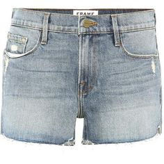 Frame Le Cutoff Tulip Denim Shorts ($195) ❤ liked on Polyvore featuring shorts, blue, cut off jean shorts, denim shorts, cutoff shorts, cut-off shorts and blue jean short shorts