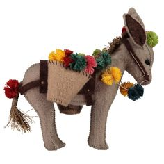 Pompom Donkey Hand stitching patterns / DIY kits / Beginner sewing projects / Learn to hand-sew / Sewing with felt / hand made gifts / Sewing Projects For Beginners, Knitting For Beginners, Cute Crafts, Felt Crafts, Circular Weaving, Stitching Patterns, Hand Stitching, Arte Popular, Stuffed Animal Patterns