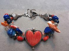 Vntg Native American Sterling 925 Red Coral,Lapis & Spiny oyster Heart Bracelet #PN