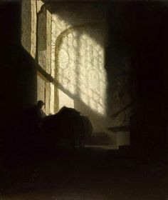 """Unknown follower of Rembrandt, """"A Man seated reading at a Table in a Lofty Room"""" c.1630 (from Art Inconnu)"""