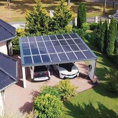 SolarCarport - Free home your electric car 🚘 upload You are looking for a photovoltaic system ⚡ Carport Designs, Garage Design, Exterior Design, Solar Carport, Carport Garage, Carports, Vegetable Garden Design, Spanish House, Loft Interiors