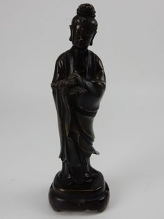 Antique Chinese Bronze Statue of  Kwan-yin  8 inches Dragon Seal