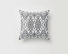 Throw Pillow Decorative Pillow Case Damask Black and White Made to Order Photo Pillow 16x16, 18x18, 20x20 Home Decor on Etsy, $32.79 CAD