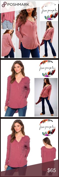"""Free People Henley Tunic Pullover 💟NEW WITH TAGS💟  Free People Henley Tunic Tee  * Oversized style; Relaxed & super flowy silhouette  * Incredibly soft slub knit fabric  * Split neck, raw edge hem, chest pocket & long sleeves  * About 34""""-38"""" long  * Pullover/stretch-to-fit   * 4 button half placket & gathering at back yoke Fabric: 100% Cotton  Color: Brick # T-Shirt frontier slouchy boyfriend  🚫No Trades🚫 ✅Offers Considered*/Bundle Discounts✅ *Please use the blue 'offer' button to…"""