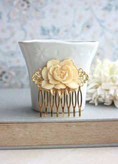 Ivoire fleur or peigne. Style Vintage Ivoire Rose or par Marolsha