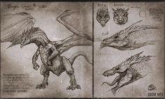 ArtStation - Draconic old manuscripts, Charidimos Bitsakakis Curious Creatures, Alien Creatures, Fantasy Creatures, Mythical Creatures, Dragon Anatomy, Dragon Artwork, Dragon Drawings, Hobbit Art, Eyes Artwork