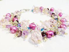 Pink Bracelet  Pink Charm Bracelet  Pink Beaded by MetalMomJewelry, $28.00
