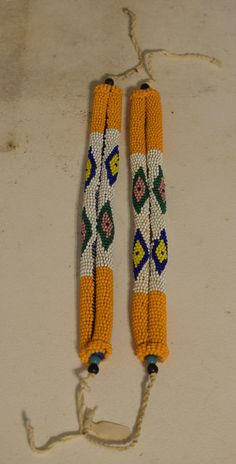 African Zulu Pair Anklets Orange White South African Bride