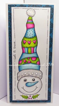 Tonights card is using the fabulous Woodware Snowman stamp.I went with nice bright colours. Create Christmas Cards, Stamped Christmas Cards, Beautiful Christmas Cards, Diy Christmas Gifts, Christmas Decor, Creative Birthday Cards, Calligraphy Cards, Snow Theme, Snowman Cards