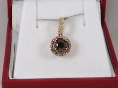 Cognac/Redish Natural Diamond Pendant. 14k Rose by RitzJewelers