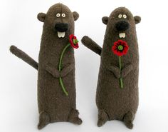 Hand crafted wedding couple with poppies.