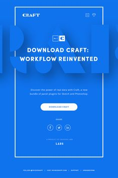 Aminimal, clean, blue email design letting readers know about Craft - a bundle of plugins for Sketch and Photoshop designers. See it here.
