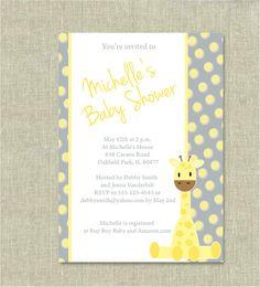 Giraffe Baby Shower Invitation Grey and Yellow by RocajoStudio