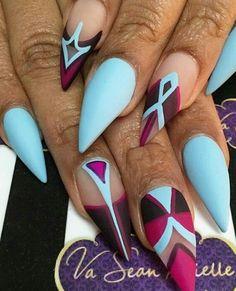 Blue matte nails design nailart