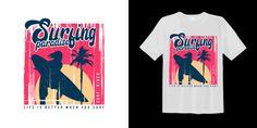 Surfing Paradise With Sunset Silhouette Palm Miami Sunset, Sunset Surf, Palm Tree Silhouette, Sunset Silhouette, Venice Beach California, Beach T Shirts, Shirt Print Design, Monochrome Fashion, Handwritten Letters
