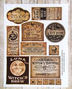 Halloween Apothecary Labels, Halloween Bottle Labels, Halloween Potions, Halloween Miniatures, Halloween House, Halloween Ideas, Harry Potter Potion Labels, Witch Potion, Bethany Lowe