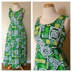 Vintage Hawaiian Dress in Green White & Yellow Hand by VBVintage, $74.00