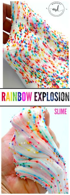 The ultimate rainbow explosion slime recipe for kids! A great anytime activity to keep the kids entertained for hours. We will show you how to make this easy slime with a tutorial and a video. You'll be amazed at how easy the best slime for kids is to make. Follow us for lots of amazing slime recipes. #slime #diyslime #crafting #forkids #diyprojects #crafts Dyi Slime, Food Slime, Slime Craft, Diy Crafts Slime, Kids Crafts, Projects For Kids, Glue Slime, Borax Slime, Rainbow Playdough