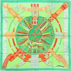 Pre-Owned Hermes Paris Ceintures et Liens 90cm Silk Scarf Carre by... ($375) ❤ liked on Polyvore featuring accessories, scarves, green, multi colored scarves, green silk scarves, green scarves, colorful shawl and pure silk scarves