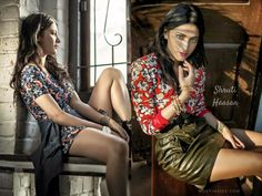 #ShrutiHaasan posing in a printed #chickdress with a top coat tied up in her waist sitting beside a window glass with hair side parted for #JuiceMagazine.