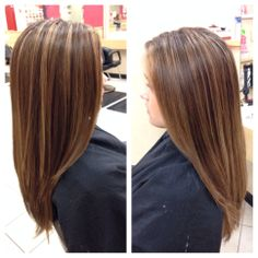 My new hair color! Brown with extreme blonde highlights on ...