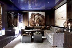 horse art by Roberto Dutesco in living room by Mar Silver Design