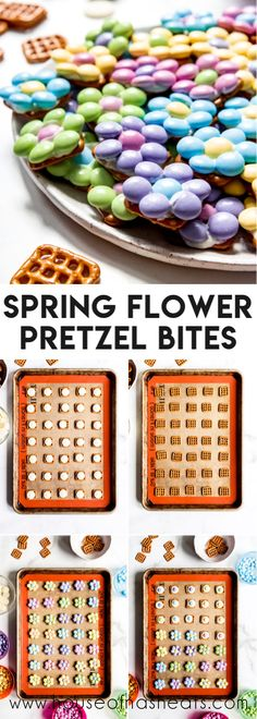 The salty-sweet combo of pretzels and chocolate make these easy Flower Pretzel Bites a great Springtime treat perfect for Easter, May Day, and Mother's Day! Chocolate Melting Wafers, Chocolate Covered Pretzel Rods, Chocolate Candy Melts, Easter Chocolate, Love Chocolate, How To Make Chocolate, Chocolate Food, Great Recipes, Snack Recipes