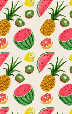 Tropical illustration by Ruby Taylor Cool Backgrounds, Wallpaper Backgrounds, Iphone Wallpaper, Food Background Wallpapers, Summer Backgrounds, Summer Wallpaper, Kids Wallpaper, Cool Patterns, Textures Patterns