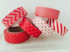 Red Washi Tape in 6 Patterns by GoatGirlMH on Etsy