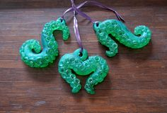 Set of 3 Glittery Green Cthulhu Tentacle Ornaments by SteamWolf, $26.00