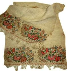 Turkish 'two-sided embroidery' (front and rear are identical).   Napkin, 19th century. Could also be used as an apron in festive women's costumes (generally in Thrace and northwest Anatolia).