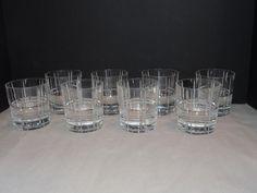 SET 8 CHRISTOFLE Double Old Fashioned Glass SCOTTISH Scotch Signed Crystal Cut #Christofle