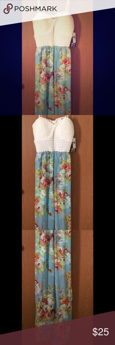 """Floral printed sundress. Long, opened back sundress with sheer floral printed design. Length 49"""", slip 18"""", waist 13"""", bust 14"""", and straps 8"""". Dresses Maxi"""