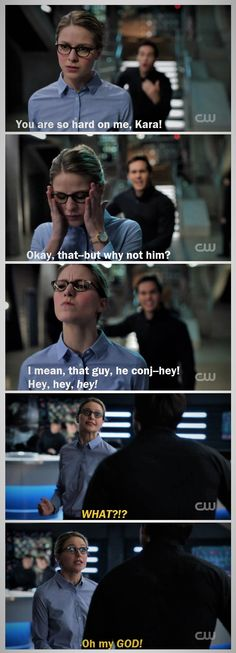 "Mon-El's ""heyheyHEY!"" and Kara's exasperated ""WHAT?!?"" are close to my favorite parts of the argument scene. I love seeing them push each other's buttons and go back and forth between those looks of, ""You're cute, but you're also really frustrating."" 