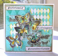 Kath's Blog......diary of the everyday life of a crafter: A Kaleidscope of Butterflies using Tim Holtz, Ranger, Idea-ology, Sizzix and Stamper's Anonymous products; May 2015