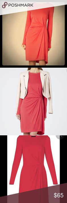 BCBG TUCK PLEAT LONG-SLEEVE DRESS A front tuck pleat creates an elegant drape in this incredibly comfortable style's easy silhouette.  Round neckline. Long sleeves. Front tuck pleat detail. Slight relaxed fit. Hits at the knee. Self: Modal, Polyester. Lining: Polyester, Spandex jersey. Machine Wash. Imported. Dresses Long Sleeve