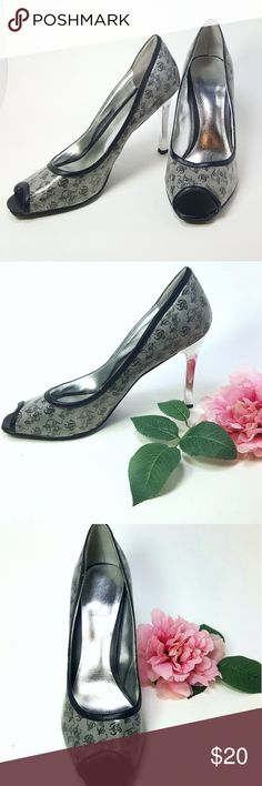"Baby Phat Signature Design Open Toe Heels Baby Phat's signature design is a great way to step out on the town. 4"" silver heels add that little extra sparkle. In very good condition. 8.5 M Baby Phat Shoes Heels"