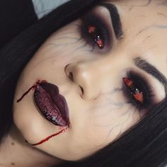 And now I'm a vampire went a little too much on the veins but still happy how it came out. @kryolanofficial eye blood @doseofcolors corset liquid lipstick @bennyemakeup stage blood @anastasiabeverlyhills dipbrow pomade in ebony @vegas_nay lashes in grand glamour