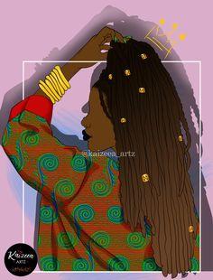 Home - Kaizeea Artz- A Daydreamer that creates from Love, Soul and the Guided Spirits. Black Girl Art, Black Art, Art Girl, Black Characters, African Artists, Art Corner, Afro Art, Black Pride, African Women